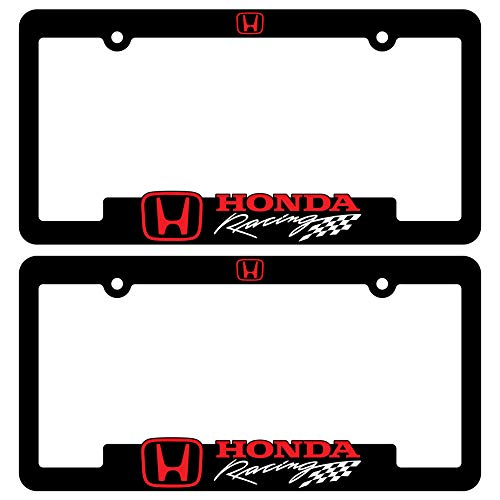 Custom Car Gear (2) Honda Racing License Plate Frames Motorsports Rally 3D Letter Frame Brackets (1-Pair)