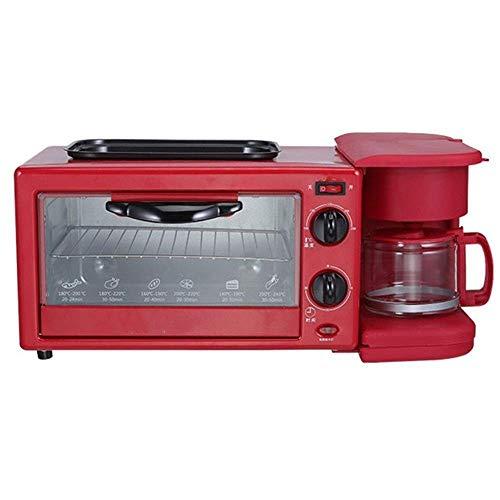 Fabricante de Desayuno Tostadora 3-IN1 Horno de café multifunción Máquina Máquina Mini Máquina de Desayuno eléctrica Estación de Desayuno (Color: Rojo, Tamaño: 52.3x30.2x28cm) BJY969