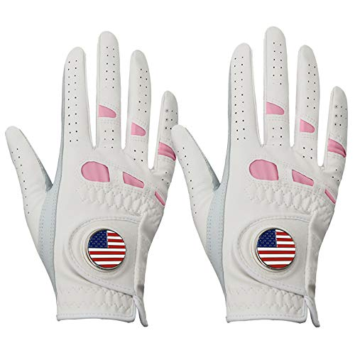 Women s Golf Gloves Left Hand Right with Ball Marker Value 2 Pack, All Weather Grip Rain Soft Leather Pink Size Small Medium Large XL (X-Large,Worn on Right Hand)