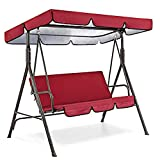 Garden Swing Canopy + Seat Replacement,Top Cover + Seat Cover,Swing Cushion Polyester Waterproof Cover for 3 Seat Seaters Swing,Patio Outdoor Decor (Red, 190×132×15cm +150×50×10cm) -  cobkk Home