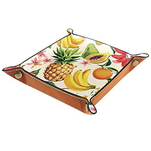 AITAI Bandeja de valet de cuero vegano, organizador de mesita de noche, plato de almacenamiento para frutas, piña, dragón, papaya, plátano