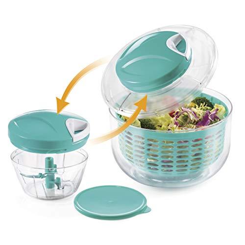 BERELA HOME - Xtreme Pinner - Mini-Zerkleinerer mit Salatschleuder, 2-in-1, manueller Gemüseschneider mit BPA-freiem Salatschleuder, reinigt und zerkleinert das Gemüse