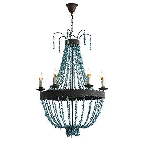 Retro Industrial Lámparas De Araña,Shabby Chic Jaula Turquesa Lámpara De Techo 5 Luces E14 Fácil De Instalar No Hay Bombillas Lampara Colgante-Azul 40x63cm