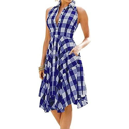 Vestido a cuadros sin mangas para mujer, con una línea delgada, plisada, vestido de verano casual de solapa hasta la rodilla para fiesta en la playa