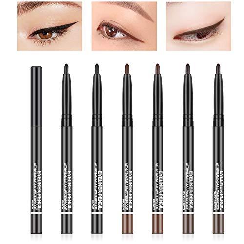 Freeorr 6 Stück Gel Eyeliner Pen, 3 Farben Langlebiger Eyeliner Gel Pencil Set mit herausdrehbarer Mine ohne Anspitzen -Braun, Schwarz, Dunkelbraun