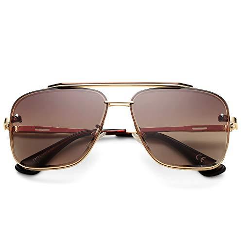 COASION Tony Stark, gafas de sol estilo aviador, estilo retro, cuadradas, para hombres y mujeres