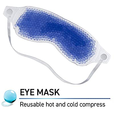 Reusable Eye Mask with Flexible Gel Beads for Hot Cold Therapy, Best Spa Eye Wrap for Puffy Eyes, Non Toxic Compress for Swollen Eyes, Relaxation, Hot Cold Pack