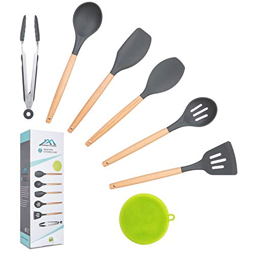 Kitchen Utensil Set,Silicone Cooking Utensils with Wooden Handles,7PCS Kitchen Tools Spatula Set Spoon for Nonstick Cookware,Kitchen Gadgets with Turner Tongs Scrubber,Apartment Essentials Best Gifts