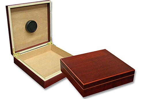 Prestige Import Group - The Chateau Small Cigar Humidor - Capacity: 20 Cigars - Color: Cherry