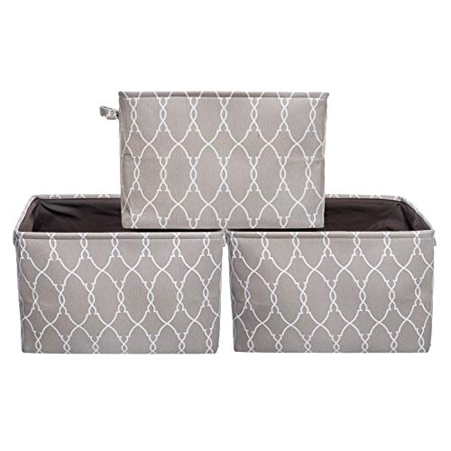 HOKEMP Large Foldable Storage Bins [3-Pack] - 15 x 11 x 9.8 inch Fabric Storage Baskets Collapsible Organizer with Carry Handles for Nursery, Home Closet, Toys, Towels, Laundry - Brown Lattice