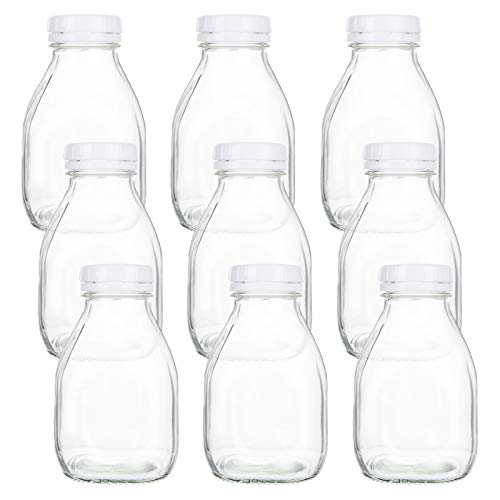 Bekith Lote de 9 Botellas de Leche de Vidrio 500ml con Tapas de Rosca, Recipiente Vintage para Bebidas Cristalería y Bebidas, Fiestas, Bodas, Barbacoas, Picnics