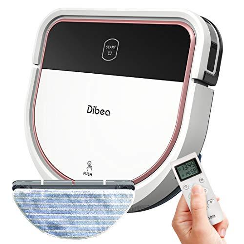 Dibea Saugroboter mit Wischfunktion Staubsauger Roboter Saugen Wischen Gleichzeitig 3 Saugstufen 110 Minuten 7.5 cm Flach Hartböden Automatische Aufladung D500 Pro Weiß