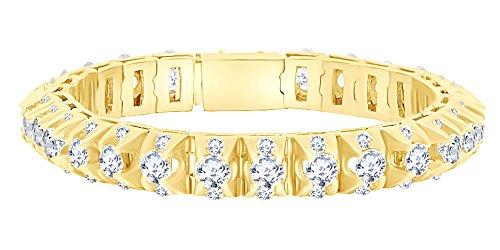 Bracciale tennis in oro massiccio da 17,75 ct con diamanti naturali bianchi in oro massiccio 14 ct e Oro rosa, colore: rosa, cod. MNo-UK-BR-1112804718-8.5-RG