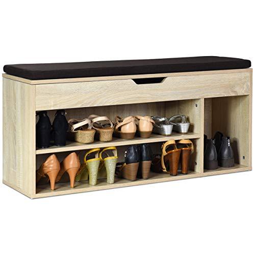 COSTWAY Schuhbank mit Sitzfläche, Schuhregal Holz, Schuhkommode Schuhablage Schuhschrank aufklappbar, Sitzbank mit Regal, Sitzkissen 104x30x48cm(braun)