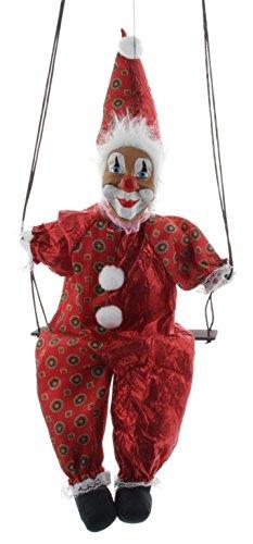 Unbekannt Mel-O-Design Deko Clown auf Schaukel Rot