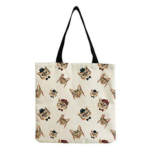 Neaer Tote bag Eco Friendly Linen Animal Women's Tote Open Belt Foldable Baby Cat Cartoons Shopper Bag Document Storage Art Casual Handbags Handbags (Color : Hm0053)