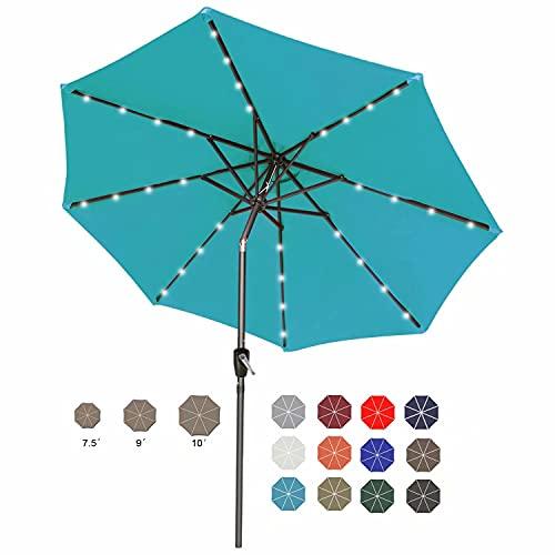 ABCCCANOPY - Paraguas solar para patio de 7,5 pies con 32 luces LED, paraguas de mesa inclinable y manivela para jardín, terraza, patio trasero y piscina, 12 colores más (turquesa)
