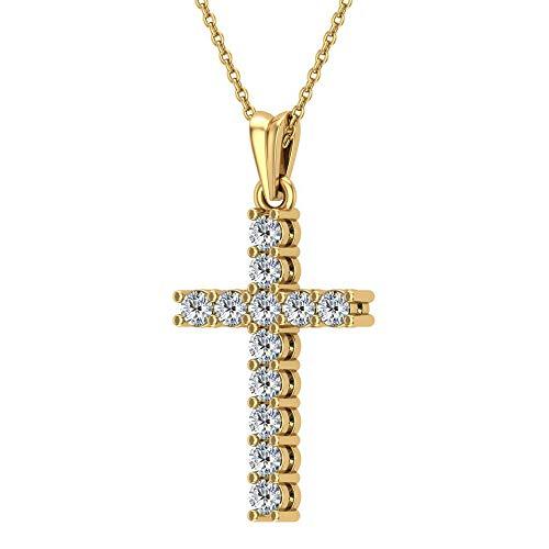 Glitz Design Collar de Cruz de Diamante para Las Mujeres 14K Oro Amarillo 0.30 ctw 27 mm Regalos de Pascua