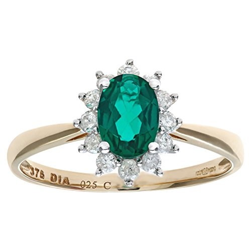 Naava Women's Round Brilliant 0.25ct Emerald and Diamond 9 ct Yellow Gold Oval Cluster Ring - Size M
