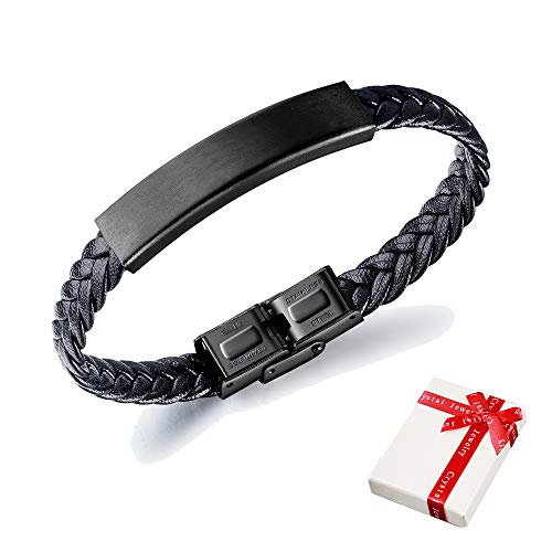 Braccialetto nero da uomo in pelle intrecciata per uomo adolescenti ragazzi, fantastici braccialetti intrecciati acciaio inossidabile gioielli regalo per persona preferita compleanno di natale (21cm)