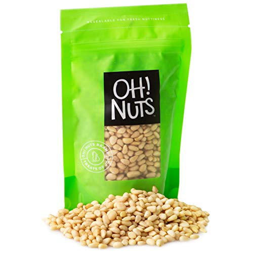 Oh! Nuts Pine Nuts (Pignolias) | 1lb (16oz) Bag of Bulk Fresh Raw Pine Nuts for Baking, Snacking, Salads & Pesto | Keto-Friendly, Vegan, Sugar-Free & Kosher Healthy Nuts | Pignoli Packed with Protein
