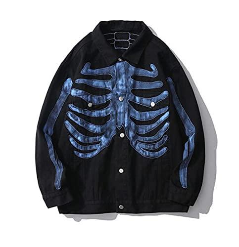 XGHW Männer Distressed Denim Mantel Tops, klassisch gedruckter Sweatshirt Mantel Persönlichkeit Freizeitjacke Unisex Revers Kragen Button Down Bomber Denim Jacke Mantel (Color : Black, Size : 3XL)