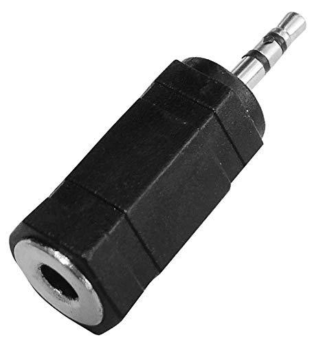 AERZETIX - Juego de 5 adaptadores - Jack 2.5mm macho stéréo - Jack 3.5mm hembra stéréo - color negro - C43824
