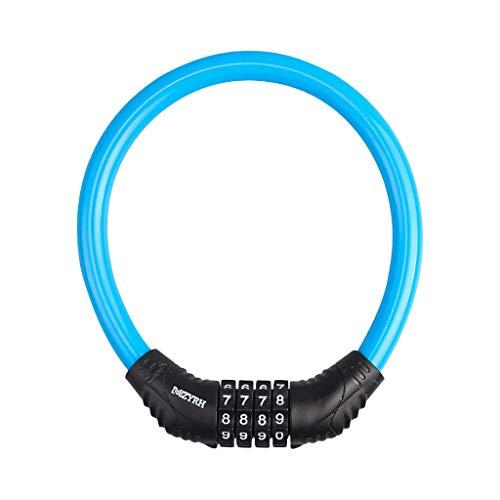 HSKB Fietsslot, frameslot, metalen kabel fietsslot, cijferslot, veiligheidsniveau zeer hoog fietsslot ketting voor fiets, motorfiets, poort, hek, scooter blauw