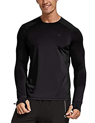 BALEAF Men's Athletic Long Sleeve Outdoor Shirts Thumb Holes Breathable SPF Hiking Tshirts Drifit Workout Tops Black XL