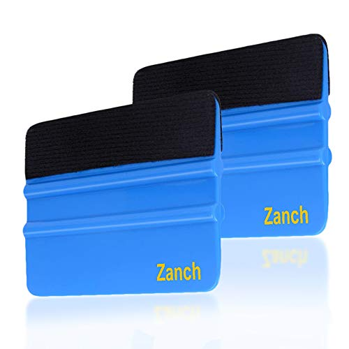Zanch Blue Felt Squeegee Tool Vinyl Squeegee Graphic Decal Wrapping Car Film Wrap Scrape Wallpaper Installing Window Tint Craft Scraper with Black Fabric Felt Edge 2Pcs …
