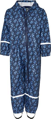 Playshoes Jungen Regen-Overall, Regenanzug Baustelle Regenhose, Blau (Marine 11), Herstellergröße: 110