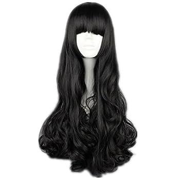 COSPLAZA Cosplay Wigs Black Long Curly Wavy Black Full Hair