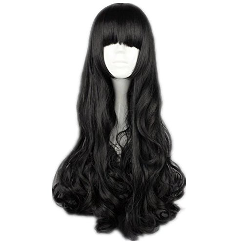 COSPLAZA Cosplay Wigs Black Long Curly Wavy Black Full Hair