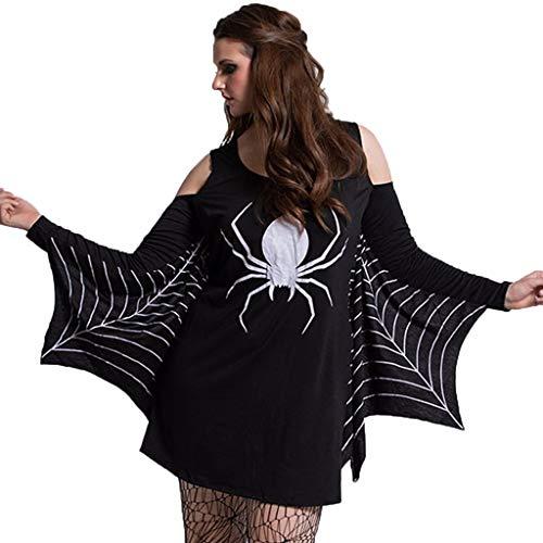 Fossenfeliz Disfraz de Bat Elegante con Estampado de araña - Vestido de Mujeres Halloween Realista - Falda Mini de Diosa del Temperamento de Fiesta de Mascarada