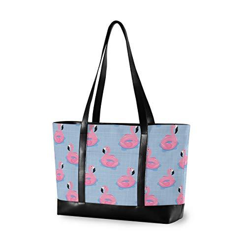 Sommer-Flamingo-Rettungsring für Frauen, Canvas-Handtaschen, Schulter-Tragetasche, Tragegriff oben, große Kapazität, Laptop-Tasche, Tablet-Tasche (37,7 x 13,9 x 28,3 cm)