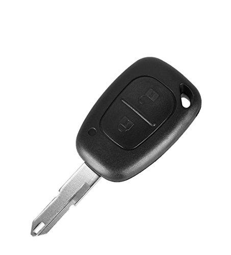 PHONILLICO Autoschlüssel Ersatz Fernbedienung Schlüssel Für Cle Renault Kangoo Master Trafic Schlüsselanhänger Flip mit 2 Tasten Klinge mit Loch Modell mit Batteriezelle