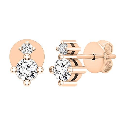 Dazzlingrock Collection Pendientes de tuerca para mujer, de 0,40 quilates, con diamantes blancos cultivados en laboratorio, disponibles en metal de oro de 10 K, 14 K, 18 K y plata de ley 925.