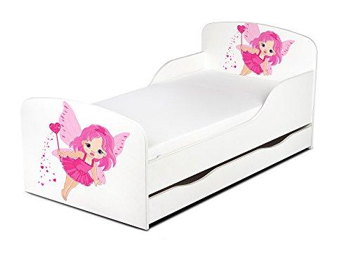 Leomark Einzelbett aus Holz - Gute Fee - Kinderbett mit Schubladen für Bettwäsche, Stauraum, Holzbett mit Matratze + Lattenrost, Komplett Set, Liegefläche 70/140 cm, UV-Druck