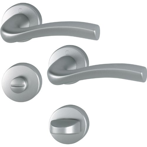 HOPPE Türgriff duravert Melbourne, Aluminium matt stahl für innen, Bad/WC-Garnitur, m.Olive