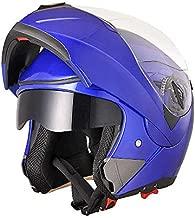 AHR Run-M Full Face Flip up Modular Motorcycle Helmet DOT Approved Dual Visor Motocross Blue L