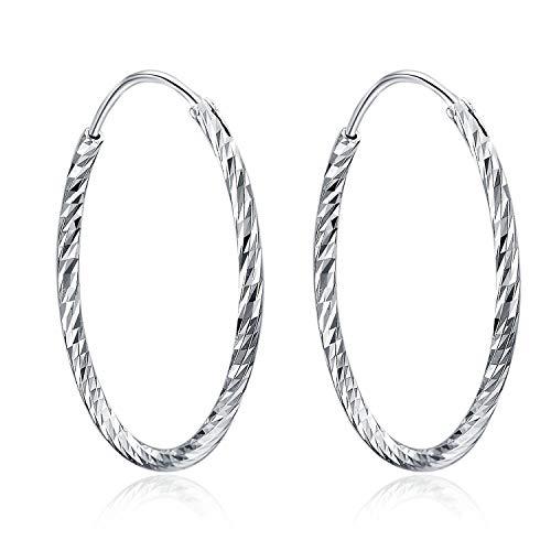 Creolen Ohrringe Damen 925 Sterling Silber Diamant-Cut Creolen Runde Ohrringe für Frauen Mädchen Unisex, Durchmesser 20,30,40,50,60mm (50)
