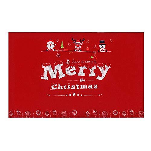 Manteles Individuales Mesa,6 Piezas 45 * 30 cm Feliz Navidad manteles Individuales Antideslizantes manteles Individuales Mesa Lavable Rojo Navidad esteras Año Nuevo decoración del hogar