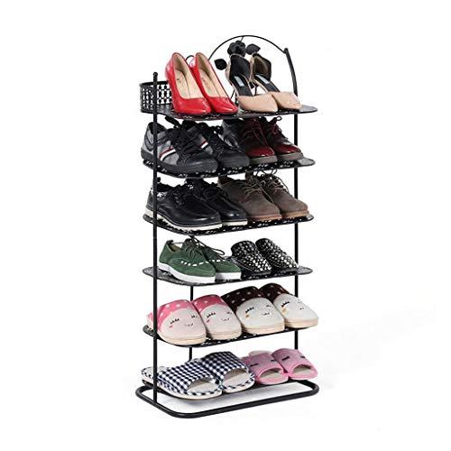 ZZYE Zapatero de metal negro de 6 niveles apilable organizador de almacenamiento estante para 12 pares de zapatos pasillo estante de pie para entrada de hierro y arte organizador de zapatos