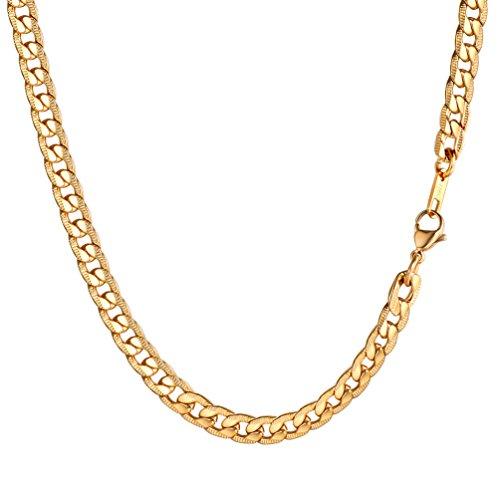 PROSTEEL Herren Kette Edelstahl Panzerkette Halskette Link Kette 7MM Breit Gliederkette für Herren, 46CM lang, Gold