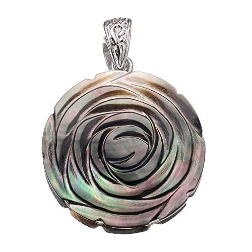 BOSAIYA PJ 1 unid Vintage Colorido Rosa Flor Colgantes Colgantes encantos 35mm Madre Natural Bohemia Pearl Shell Colgantes para la joyería Que Hace Collar TL817