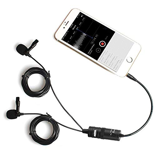Dual-Head Lavalier Microphone for Smartphone PC Camera, 157''/4m BOYA Lapel Universal Mic with 1/8 Plug Adapter for iPhone X 8 7 Samsung Canon Nikon DSLR Camcorders Audio Recorder Vlog Poscast