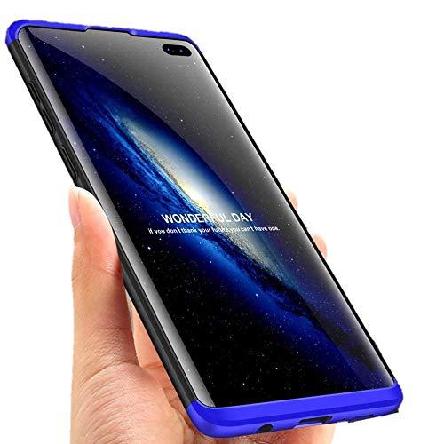 """Capa Capinha Anti Impacto 360 Para Samsung Galaxy S10 Lite com Tela de 6.7"""" Polegadas Case Acrílica Fosca Acabamento Slim Macio - Danet (Preto com Azul)"""