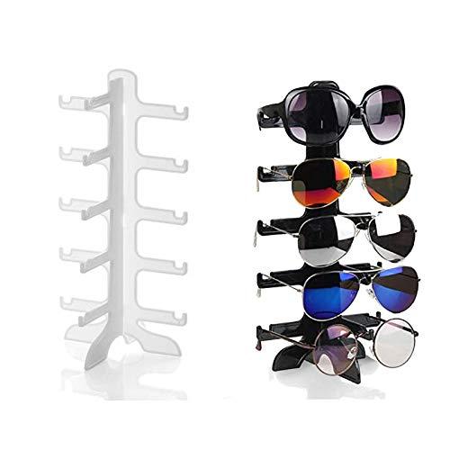 Hoobao 2 Piezas Estante de Gafas,Estante de Exhibición de Almacenamiento de Gafas de 5 Capas, Adecuado para Guardar Gafas de Sol, Gafas de Miopía, Gafas de Lectura (Blanco y Negro)