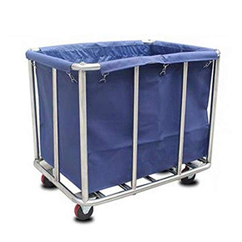 GBX Tragbare Hand-Multifunktions-LKWs, die Fahrzeuge, Servierwagen-Wagen-entfernbares Edelstahl-Hotel-Wäschewagen-Oxford-Stoff-hohe Kapazitäts-stilles Rad, 3 Farben aufbereiten,Blau