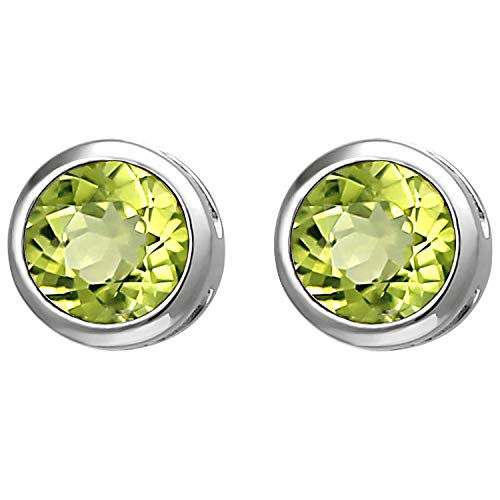 JOBO Damen Ohrstecker 925 Sterling Silber 2 Peridote grün Ohrringe